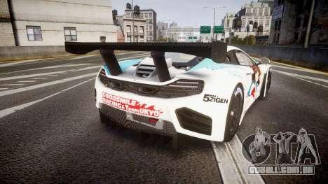 McLaren MP4-12C GT3 Haruhi Itasha para GTA 4 traseira esquerda vista