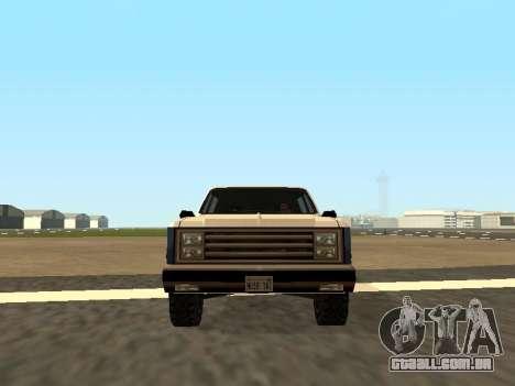 Rancher Four Door para GTA San Andreas traseira esquerda vista