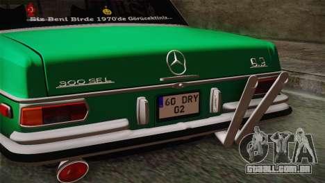 Mercedes-Benz 300 SEL DRY Garage para GTA San Andreas vista direita