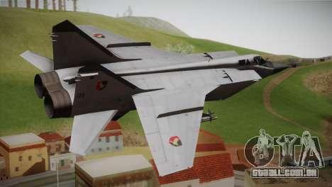 MIG 31 Estovakian Air Force para GTA San Andreas esquerda vista
