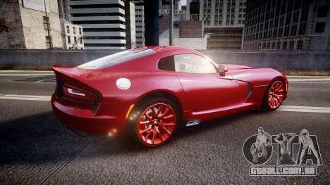 Dodge Viper SRT 2013 rims1 para GTA 4 esquerda vista