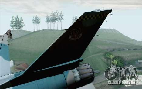 F-16C Fighting Falcon Aggressor BlueGrey para GTA San Andreas traseira esquerda vista
