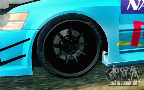 Mitsubishi Lancer Evolution IX para GTA San Andreas traseira esquerda vista