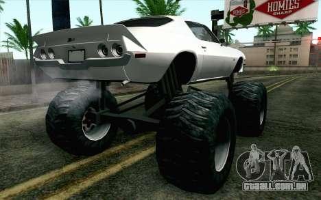 Chevrolet Camaro Z28 Monster Truck para GTA San Andreas esquerda vista