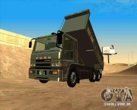 Mitsubishi Fuso Super Great Dump Truck para GTA San Andreas traseira esquerda vista