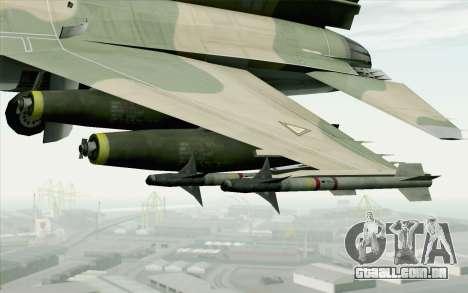 F-16 Fighter-Bomber Green-Brown Camo para GTA San Andreas vista direita