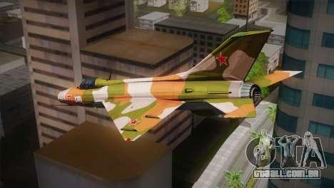 MIG 21 Russian Camo Force para GTA San Andreas esquerda vista