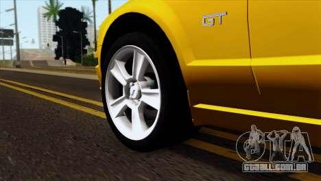 Ford Mustang GT Wheels 1 para GTA San Andreas traseira esquerda vista