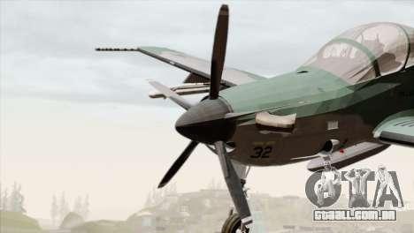 Embraer A-29B Super Tucano FAB para GTA San Andreas vista traseira