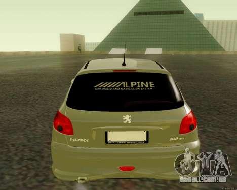 Peugeot 206 Street Racer Tuning para GTA San Andreas vista direita