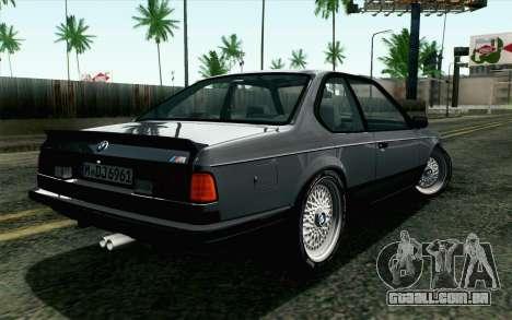 BMW M635CSI E24 1986 V1.0 EU Plate para GTA San Andreas esquerda vista
