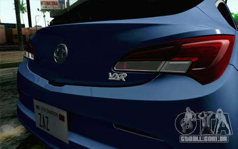 Vauxhall Astra VXR 2012 para GTA San Andreas vista traseira