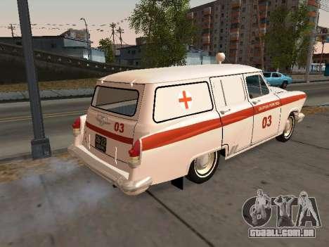 GÁS de 22 de ambulância para GTA San Andreas traseira esquerda vista