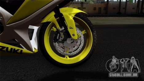 Suzuki GSX-R 2015 Yellow & White para GTA San Andreas traseira esquerda vista