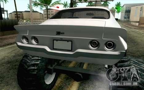 Chevrolet Camaro Z28 Monster Truck para GTA San Andreas vista traseira