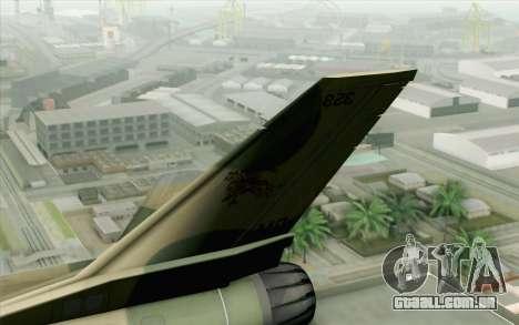 F-16 Fighter-Bomber Green-Brown Camo para GTA San Andreas traseira esquerda vista