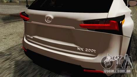 Lexus NX 200T para GTA San Andreas vista traseira