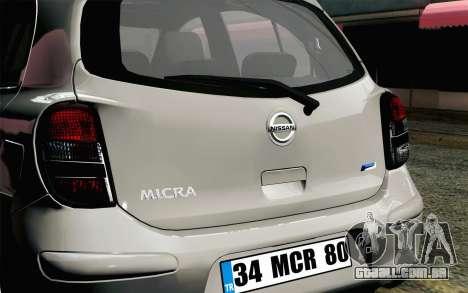 Nissan Micra para GTA San Andreas vista traseira