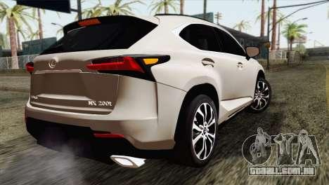 Lexus NX 200T para GTA San Andreas esquerda vista