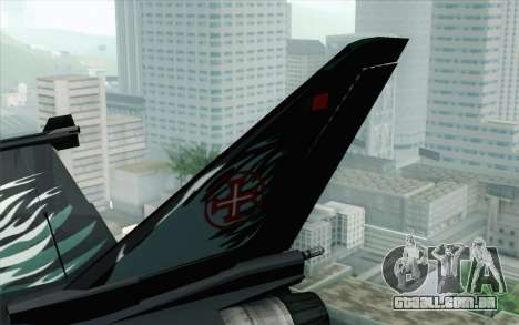 EuroFighter Typhoon 2000 Black Hawk para GTA San Andreas traseira esquerda vista