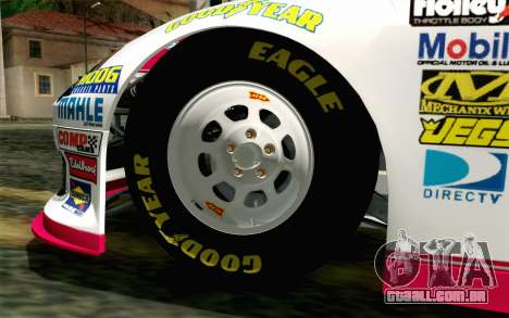 NASCAR Toyota Camry 2012 Plate Track para GTA San Andreas traseira esquerda vista