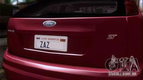 Ford Focus ST Tunable para GTA San Andreas vista traseira