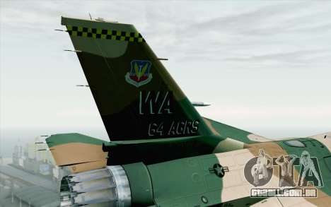 F-16C Fighting Falcon Aggressor 272 para GTA San Andreas traseira esquerda vista