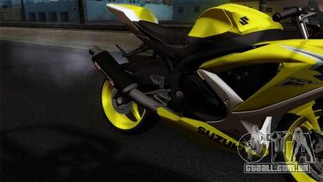 Suzuki GSX-R 2015 Yellow & White para GTA San Andreas vista traseira