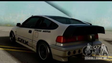Honda CRX Dragster para GTA San Andreas esquerda vista