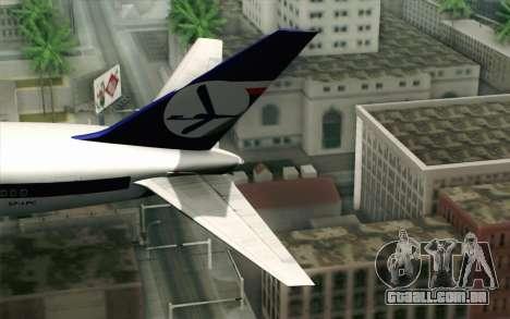 Boeing 767-300 PLL LOT para GTA San Andreas traseira esquerda vista