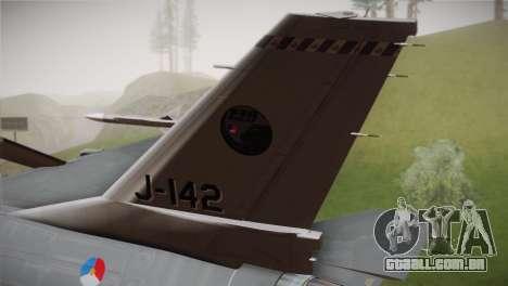 F-16 Fighting Falcon RNLAF Solo Display J-142 para GTA San Andreas traseira esquerda vista