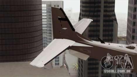 Embraer A-29B Super Tucano Low Visibility para GTA San Andreas traseira esquerda vista