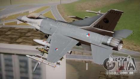 F-16 Fighting Falcon RNLAF Solo Display J-142 para GTA San Andreas esquerda vista