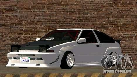 Toyota AE86 para GTA San Andreas traseira esquerda vista