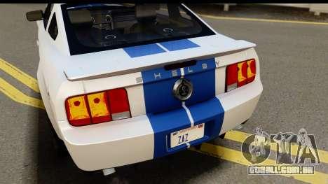 Ford Mustang Shelby GT500KR para GTA San Andreas vista interior