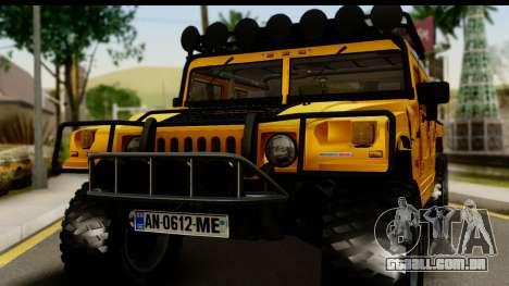 Hummer H1 6-Wheel para GTA San Andreas traseira esquerda vista