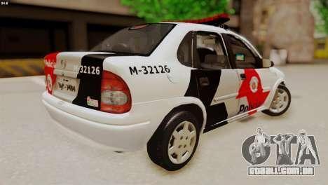 Chevrolet Corsa 2000 PMESP para GTA San Andreas traseira esquerda vista