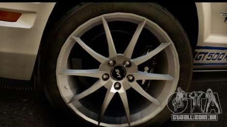 Ford Mustang Shelby GT500KR para GTA San Andreas vista direita
