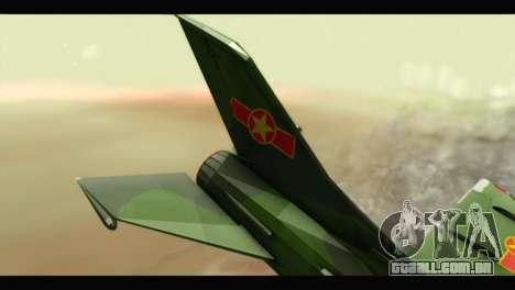 Mikoyan-Gurevich MIG-21UM Vietnam Air Force v2.0 para GTA San Andreas traseira esquerda vista
