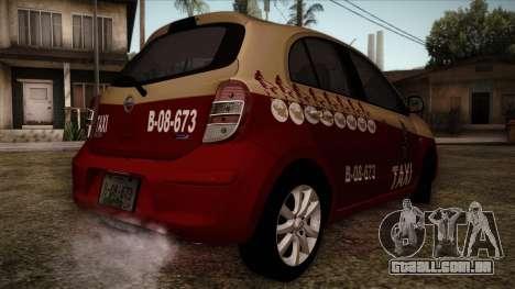 Nissan Micra Taxi DF 2012 para GTA San Andreas esquerda vista