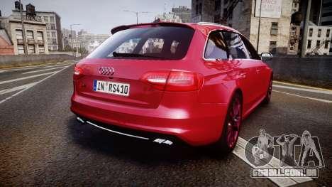 Audi S4 Avant 2013 para GTA 4 traseira esquerda vista