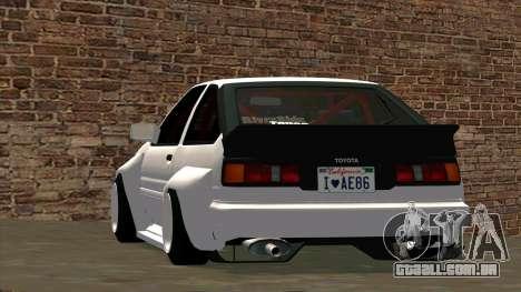 Toyota AE86 para vista lateral GTA San Andreas