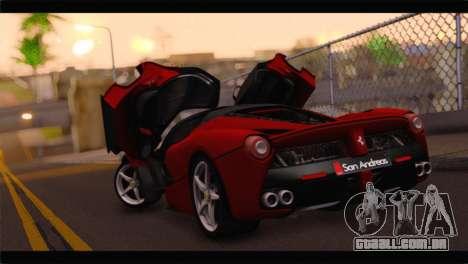 Ferrari LaFerrari 2014 para GTA San Andreas esquerda vista