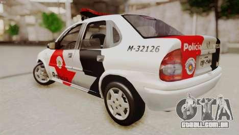 Chevrolet Corsa 2000 PMESP para GTA San Andreas esquerda vista