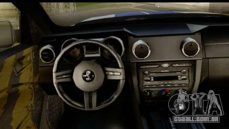 Ford Mustang Shelby GT500KR para GTA San Andreas vista traseira