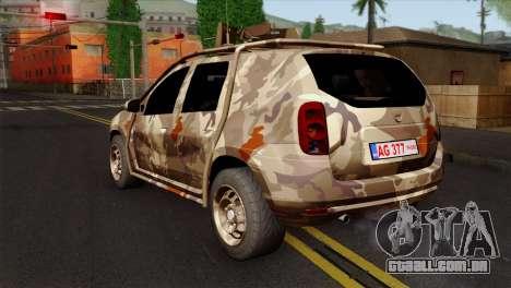 Dacia Duster Army Skin 4 para GTA San Andreas esquerda vista