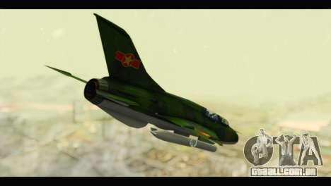 Mikoyan-Gurevich MIG-21UM Vietnam Air Force v2.0 para GTA San Andreas esquerda vista