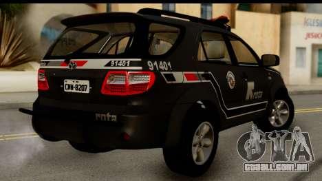 Toyota Hilux SW4 2009 ROTA para GTA San Andreas esquerda vista