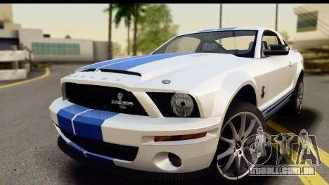 Ford Mustang Shelby GT500KR para GTA San Andreas traseira esquerda vista