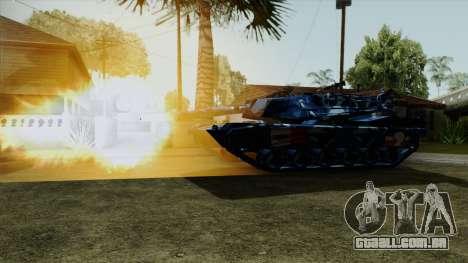 Azul de camuflagem militar, para o tanque para GTA San Andreas traseira esquerda vista
